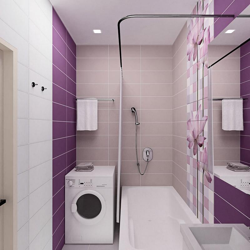 Ванная комната фото плитка сиреневая