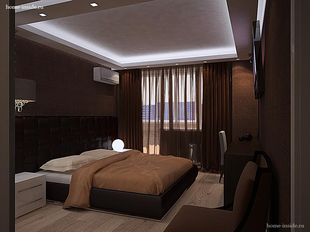 Коричневая спальня фото